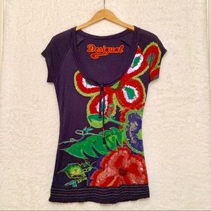 NWOT Desigual Scoop Neck T